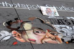 丹佛白垩在Larimer广场的艺术节 库存图片