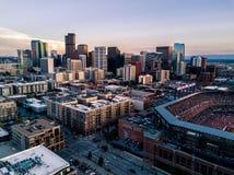 丹佛科罗拉多美丽的寄生虫照片日落的 免版税库存照片