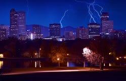 丹佛风雨如磐的晚上 免版税库存照片