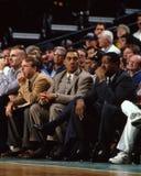 丹尼斯・强森和M L Carr,波士顿凯尔特人队 免版税库存照片