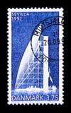 丹麦亭子,世界博览会塞维利亚,商展世界博览会serie,大约1992年 免版税库存照片