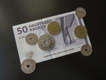 丹麦克郎纸币和硬币,丹麦 库存照片