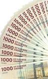 丹麦克郎 在白色背景的1000张DKK钞票 免版税图库摄影