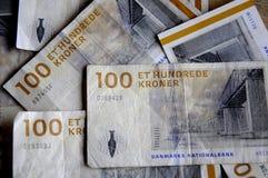 丹麦克郎货币笔记 库存图片
