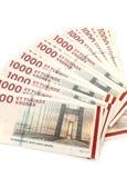 丹麦克郎- 1000张DKK钞票 库存照片