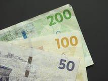 丹麦克郎& x28; DKK& x29;丹麦的笔记、货币& x28; DK& x29; 免版税库存照片