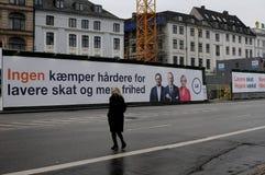丹麦宽宏aliance竞选baner在哥本哈根的心脏 免版税库存图片