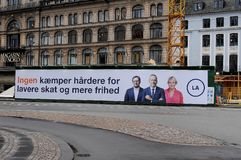 丹麦宽宏aliance竞选baner在哥本哈根的心脏 库存图片
