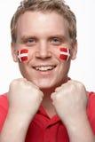 丹麦新表面风扇标志男性的体育运动 免版税库存图片