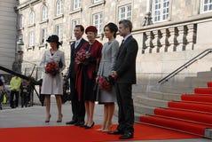 丹麦王室到达PARLIAMNT开头 库存图片