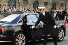 丹麦王室到达PARLIAMNT开头 图库摄影