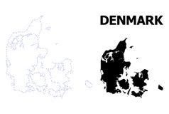 丹麦的传染媒介等高被加点的地图有说明的 皇族释放例证