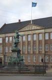 丹麦的国家银行的老大厦的门面的细节 哥本哈根 免版税库存图片