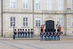 丹麦皇家卫兵在哥本哈根 免版税图库摄影