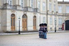 丹麦皇家卫兵在哥本哈根 免版税库存图片
