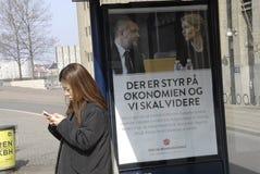 丹麦社会民主党竞选活动广告牌 免版税图库摄影