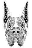 丹麦种大狗狗zentangle传统化了顶头,徒手画的铅笔,手拉,样式 禅宗艺术 华丽传染媒介 着色 免版税库存图片
