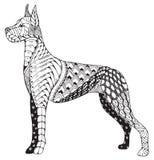 丹麦种大狗狗zentangle传统化了,徒手画的铅笔,手拉 免版税库存图片