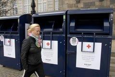 丹麦红十字会容器 免版税图库摄影