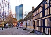 丹麦老街道 免版税库存图片
