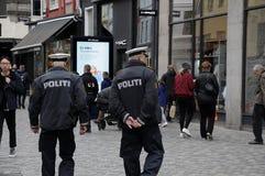 丹麦警察丹斯克POLITI 免版税图库摄影