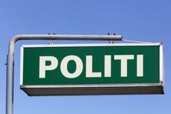 丹麦警察签字 免版税库存照片