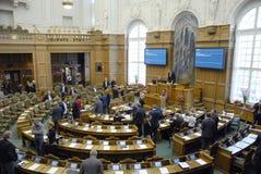 丹麦议会在会议上 免版税库存照片
