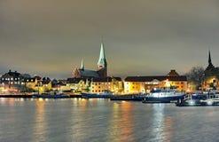 丹麦赫尔新哥市夜 库存照片