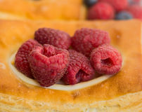 丹麦酥皮点心的中心充满莓 库存照片