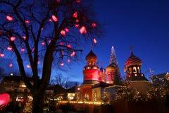 丹麦: 在Tivoli的圣诞节大气 免版税库存照片