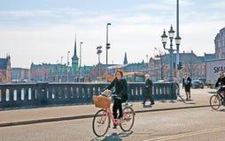 丹麦 哥本哈根 高桥梁在城市的中心 库存图片