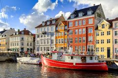 丹麦-西兰地区-哥本哈根市中心-全景vi 免版税库存照片