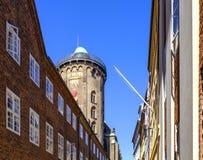 丹麦-西兰地区-哥本哈根市中心-圆的塔, 免版税库存图片