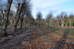 2015年 丹麦 Christiansfeld 墓地 姐妹坟墓 免版税库存照片