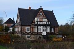 2015年 丹麦 Christiansfeld 老美丽的房子 库存图片