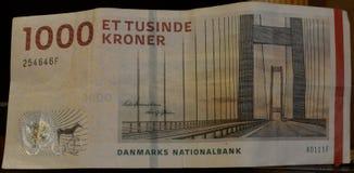 丹麦1000 kr钞票 库存图片
