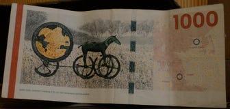 丹麦1000 kr钞票 库存照片