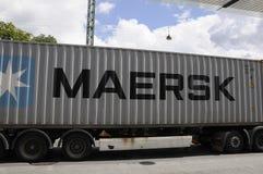丹麦MARSK运输货物卡车 免版税库存图片