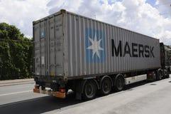 丹麦MARSK运输货物卡车 免版税库存照片