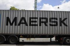 丹麦MARSK运输货物卡车 库存照片