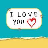 为与红色心脏的情人节剥去纸在平的样式 免版税库存照片