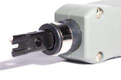 为专用自动小交换机箱子的插入工具 库存照片