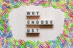 为什么选择我们词概念 库存照片