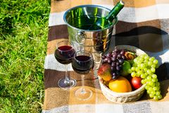 为从一个桶的一顿浪漫野餐设置有一个变冷的瓶、玻璃用酒和新鲜水果篮子的  库存照片