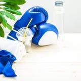 为体育、毛巾、拳击手套和一个瓶在轻的背景的水设置 一种健康生活方式的概念 免版税库存图片