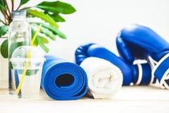 为体育、瑜伽席子、毛巾、拳击手套和一个瓶在轻的背景的水设置 一种健康生活方式的概念 免版税库存图片