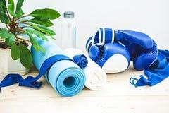 为体育、瑜伽席子、毛巾、拳击手套和一个瓶在轻的背景的水设置 一种健康生活方式的概念 免版税库存照片