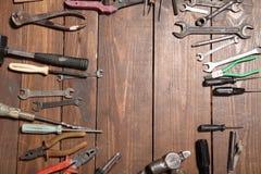 为修理刀子锤子钥匙钳子的工具 免版税库存照片