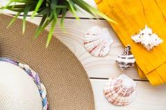 为假期、旅行或者旅途顶视图做准备 免版税库存照片