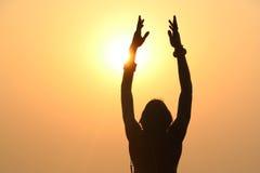 为光,瑜伽祈祷 免版税图库摄影
